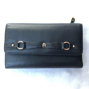 Etienne Aigner Black Genuine Leather Wallet